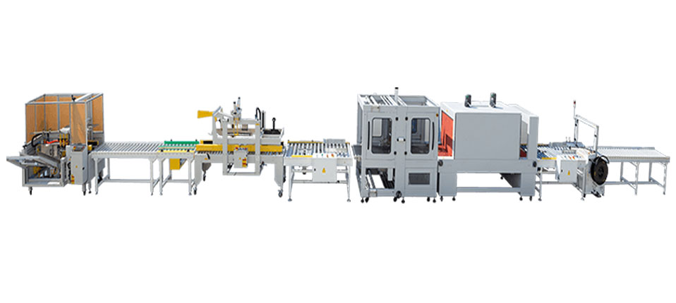 Books carton erector sealer shrink wrapper and strapping packaging line
